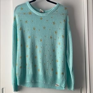 VS Pink blue sweater with gold stars